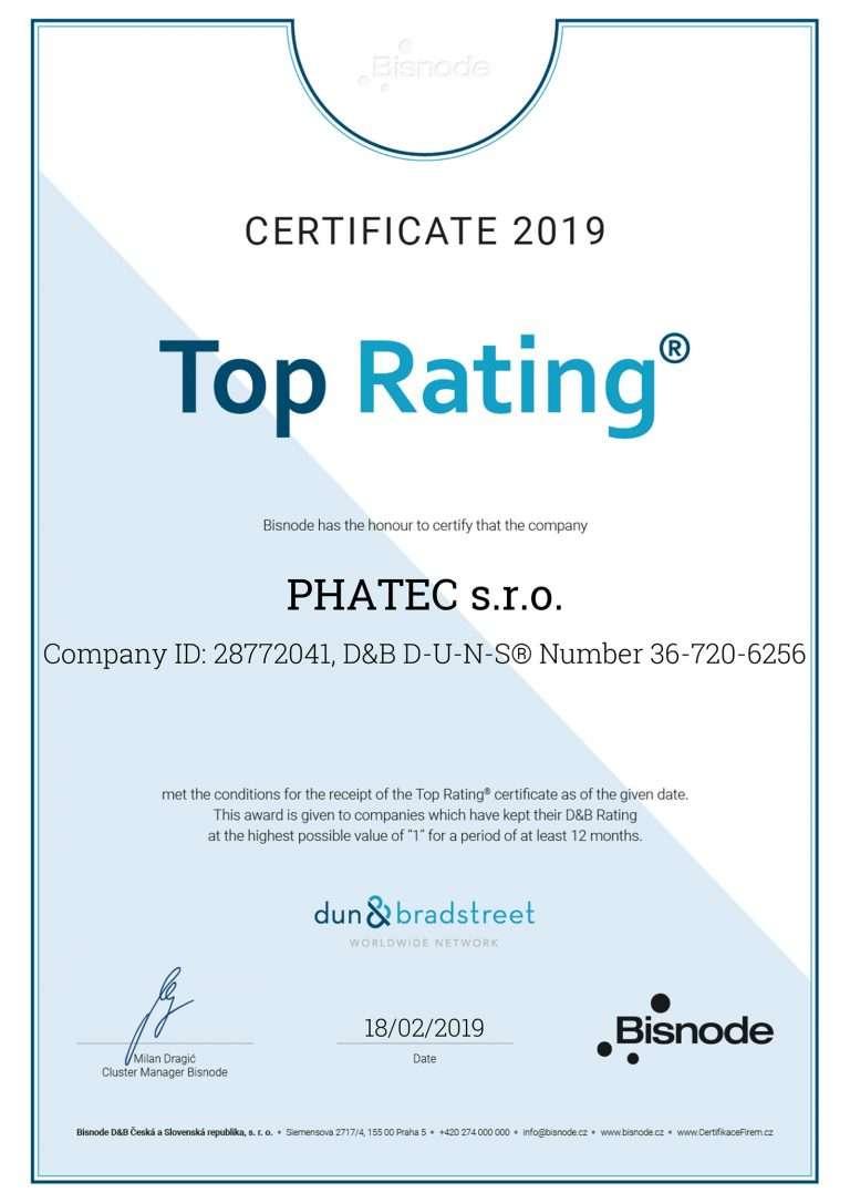 Certifikát Phatec – Top Rating